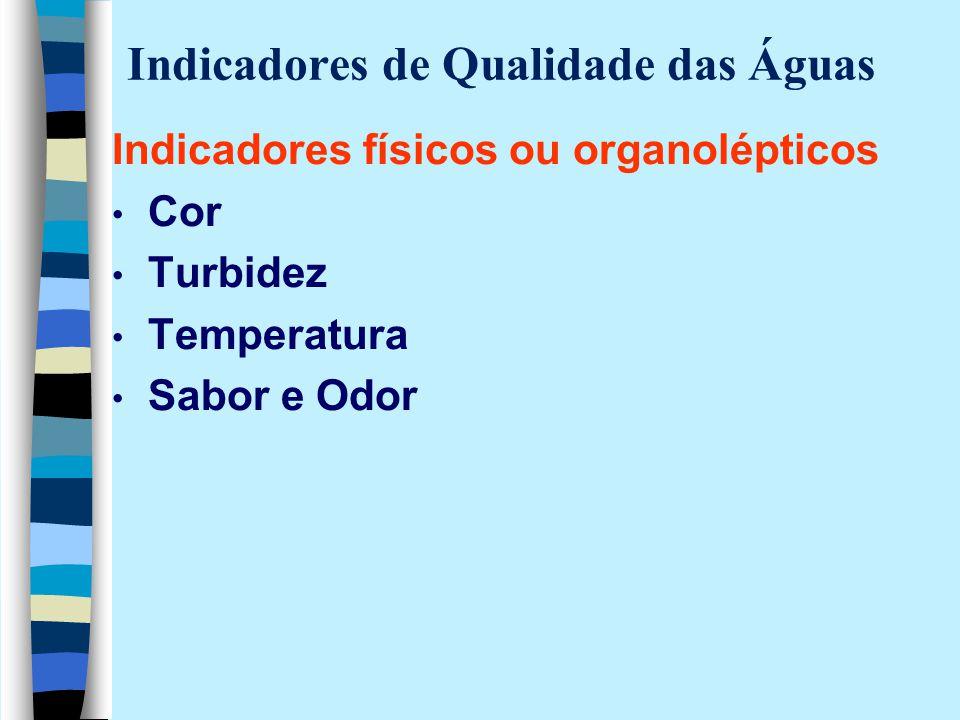 Indicadores de Qualidade das Águas Indicadores físicos ou organolépticos Cor Turbidez Temperatura Sabor e Odor