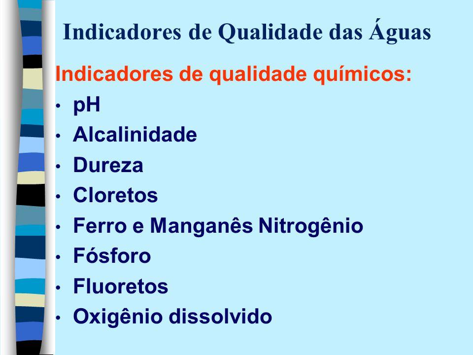 Indicadores de Qualidade das Águas Indicadores de qualidade químicos: pH Alcalinidade Dureza Cloretos Ferro e Manganês Nitrogênio Fósforo Fluoretos Ox