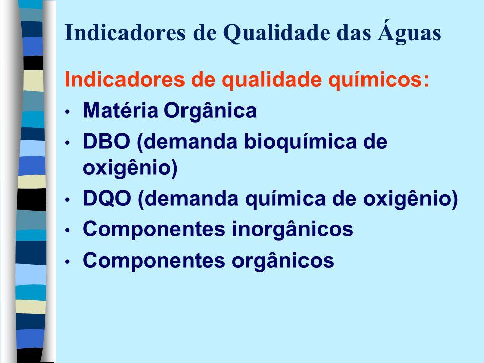 Indicadores de Qualidade das Águas Indicadores de qualidade químicos: Matéria Orgânica DBO (demanda bioquímica de oxigênio) DQO (demanda química de ox