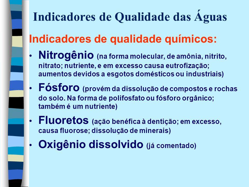 Indicadores de Qualidade das Águas Indicadores de qualidade químicos: Nitrogênio (na forma molecular, de amônia, nitrito, nitrato; nutriente, e em exc