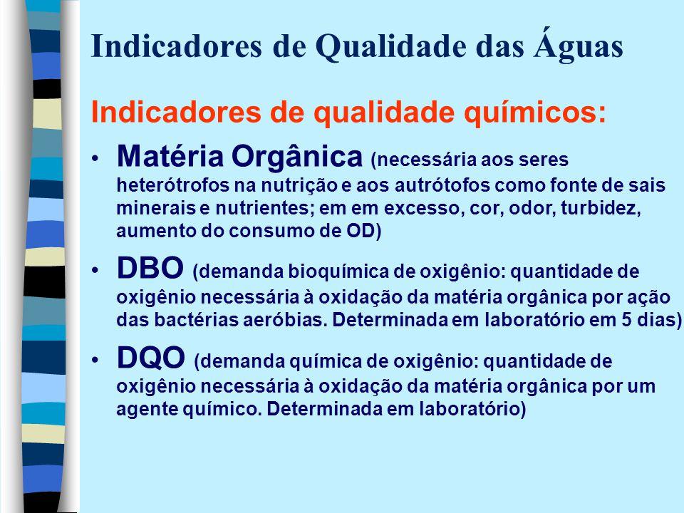 Indicadores de Qualidade das Águas Indicadores de qualidade químicos: Matéria Orgânica (necessária aos seres heterótrofos na nutrição e aos autrótofos