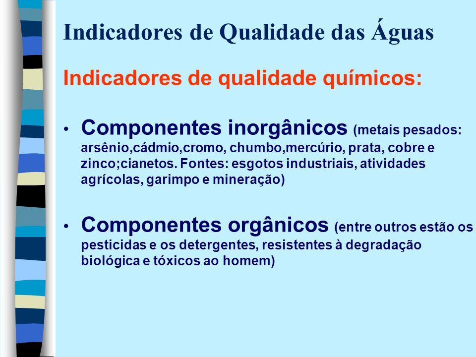Indicadores de Qualidade das Águas Indicadores de qualidade químicos: Componentes inorgânicos (metais pesados: arsênio,cádmio,cromo, chumbo,mercúrio,