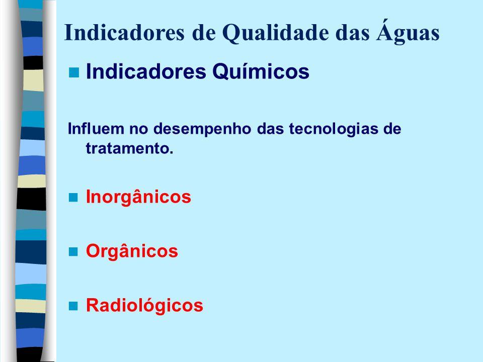 Indicadores Químicos Influem no desempenho das tecnologias de tratamento. Inorgânicos Orgânicos Radiológicos Indicadores de Qualidade das Águas