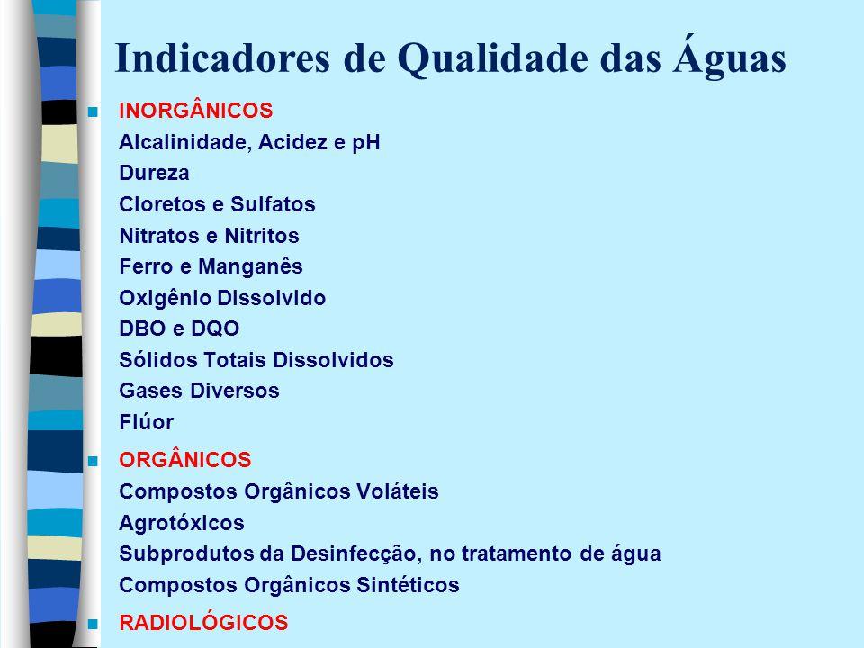 INORGÂNICOS Alcalinidade, Acidez e pH Dureza Cloretos e Sulfatos Nitratos e Nitritos Ferro e Manganês Oxigênio Dissolvido DBO e DQO Sólidos Totais Dis
