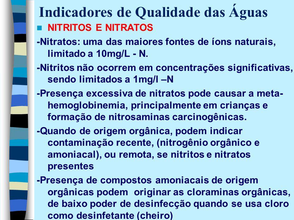 NITRITOS E NITRATOS -Nitratos: uma das maiores fontes de íons naturais, limitado a 10mg/L - N. -Nitritos não ocorrem em concentrações significativas,