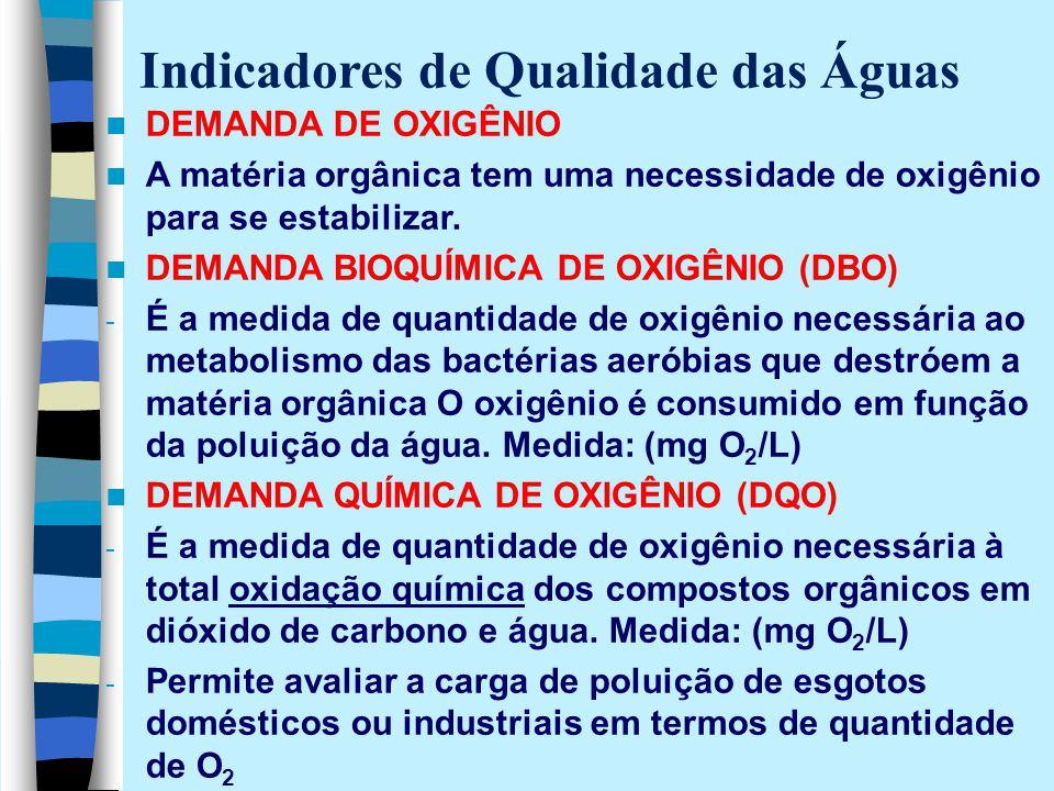 DEMANDA DE OXIGÊNIO A matéria orgânica tem uma necessidade de oxigênio para se estabilizar. DEMANDA BIOQUÍMICA DE OXIGÊNIO (DBO) - É a medida de quant