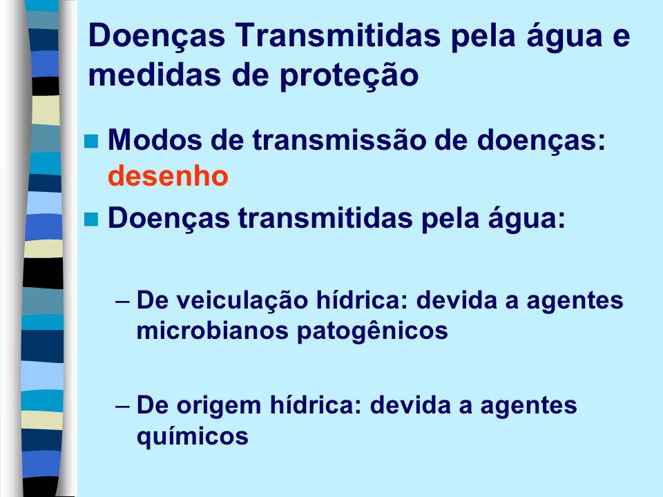 Doenças Transmitidas pela água e medidas de proteção Modos de transmissão de doenças: desenho Doenças transmitidas pela água: –De veiculação hídrica: