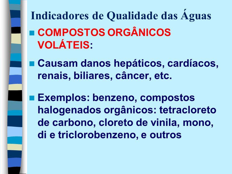 COMPOSTOS ORGÂNICOS VOLÁTEIS: Causam danos hepáticos, cardíacos, renais, biliares, câncer, etc. Exemplos: benzeno, compostos halogenados orgânicos: te