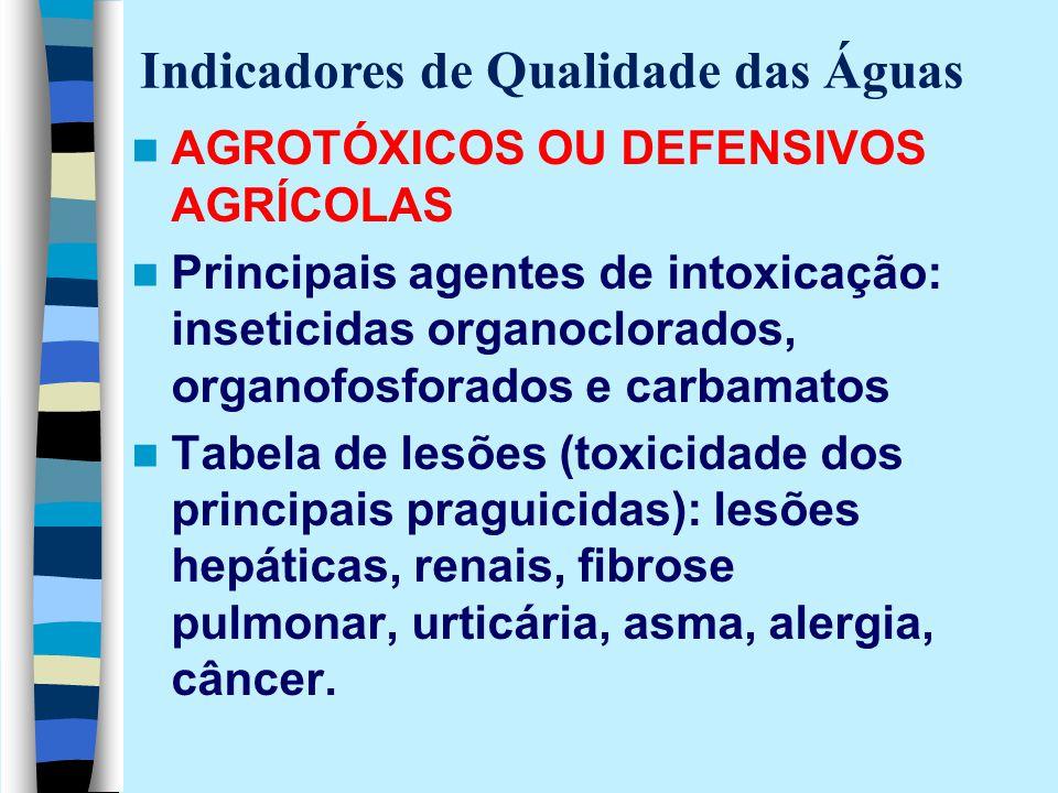 AGROTÓXICOS OU DEFENSIVOS AGRÍCOLAS Principais agentes de intoxicação: inseticidas organoclorados, organofosforados e carbamatos Tabela de lesões (tox