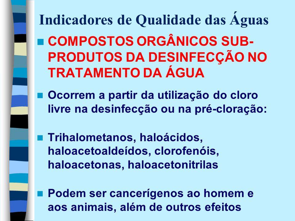 COMPOSTOS ORGÂNICOS SUB- PRODUTOS DA DESINFECÇÃO NO TRATAMENTO DA ÁGUA Ocorrem a partir da utilização do cloro livre na desinfecção ou na pré-cloração