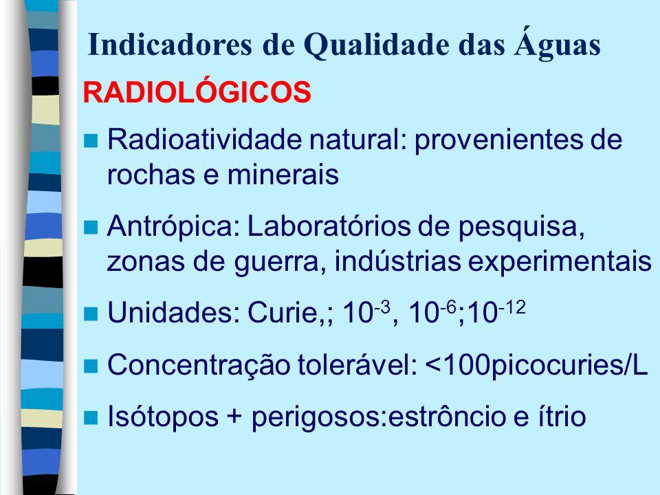 RADIOLÓGICOS Radioatividade natural: provenientes de rochas e minerais Antrópica: Laboratórios de pesquisa, zonas de guerra, indústrias experimentais
