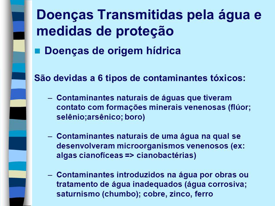 Doenças Transmitidas pela água e medidas de proteção Doenças de origem hídrica São devidas a 6 tipos de contaminantes tóxicos: –Contaminantes naturais