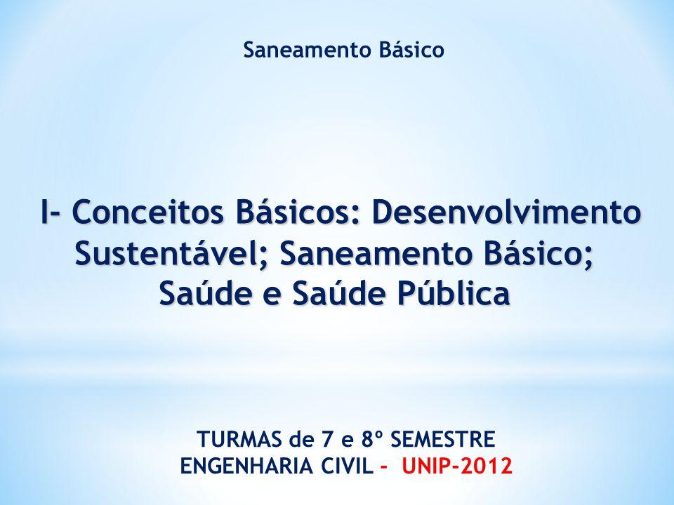 I- Conceitos Básicos: Desenvolvimento Sustentável; Saneamento Básico; I- Conceitos Básicos: Desenvolvimento Sustentável; Saneamento Básico; Saúde e Sa