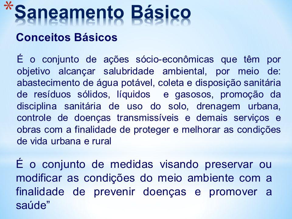 Conceitos Básicos É o conjunto de medidas visando preservar ou modificar as condições do meio ambiente com a finalidade de prevenir doenças e promover