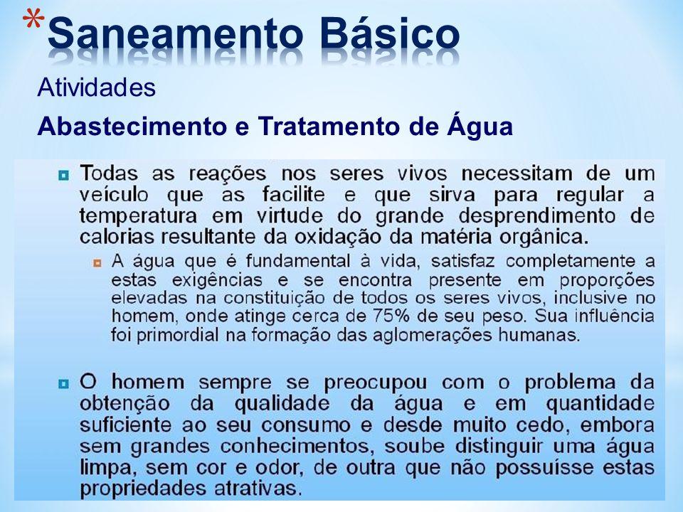 Atividades Abastecimento e Tratamento de Água