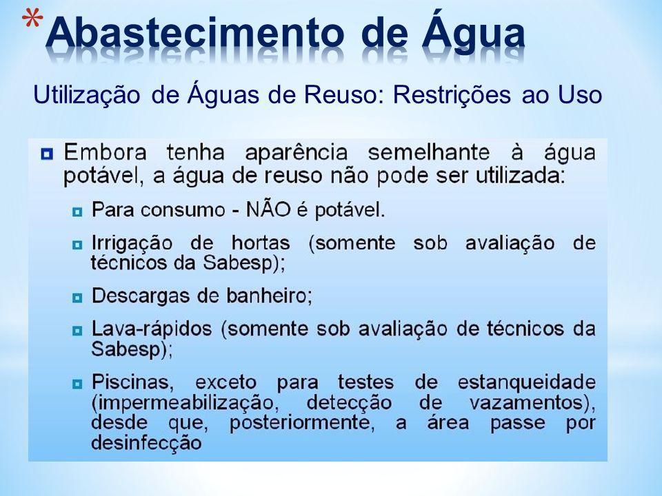 Utilização de Águas de Reuso: Restrições ao Uso