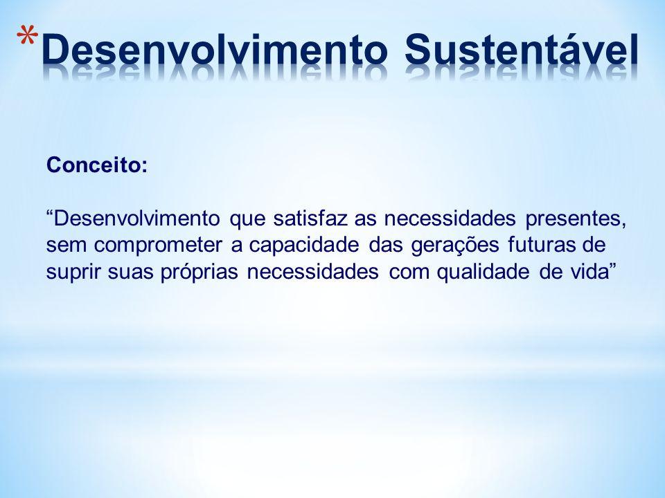 """Conceito: """"Desenvolvimento que satisfaz as necessidades presentes, sem comprometer a capacidade das gerações futuras de suprir suas próprias necessida"""
