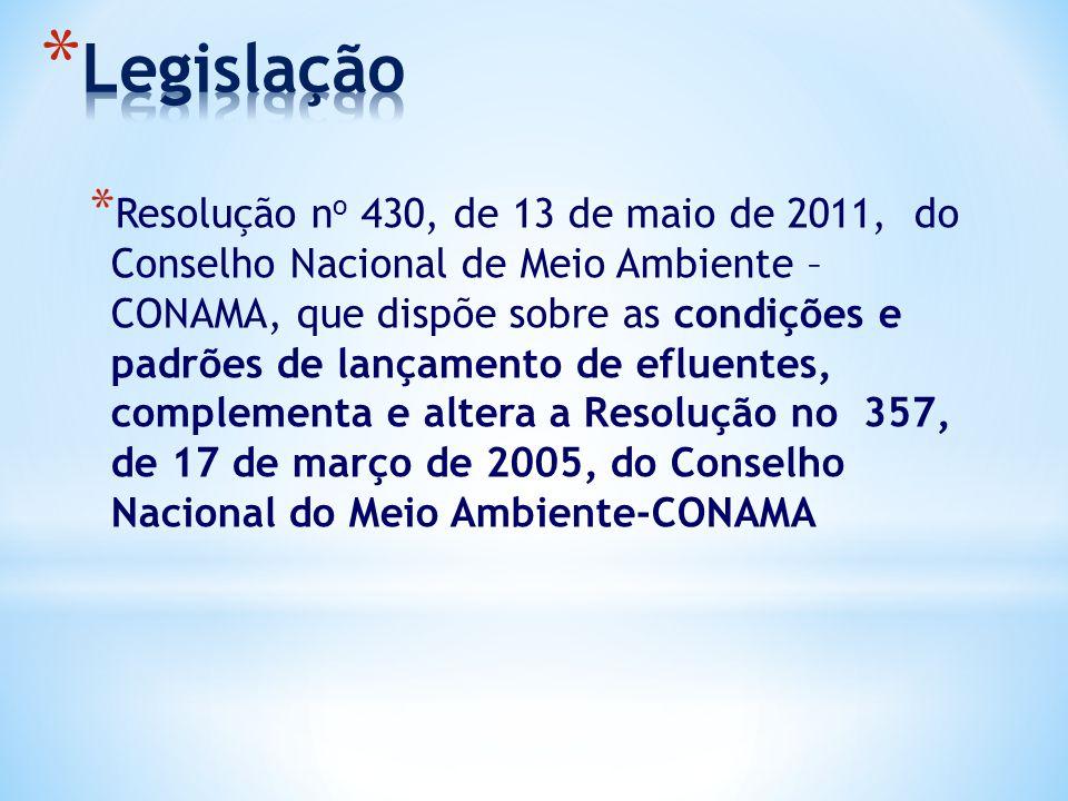 * Resolução n o 430, de 13 de maio de 2011, do Conselho Nacional de Meio Ambiente – CONAMA, que dispõe sobre as condições e padrões de lançamento de e