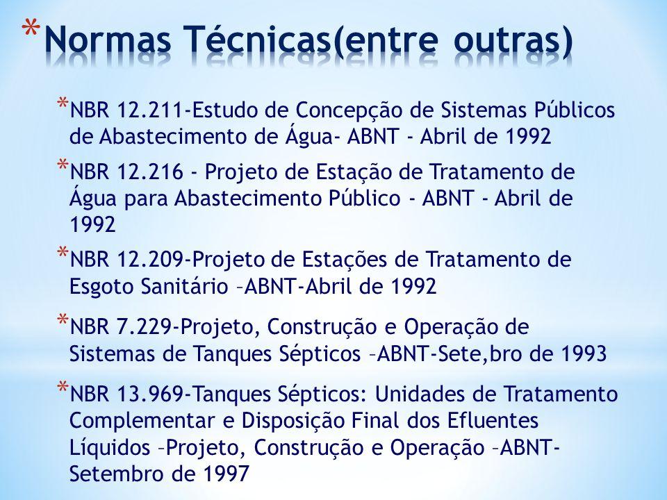 * NBR 12.211-Estudo de Concepção de Sistemas Públicos de Abastecimento de Água- ABNT - Abril de 1992 * NBR 12.216 - Projeto de Estação de Tratamento d