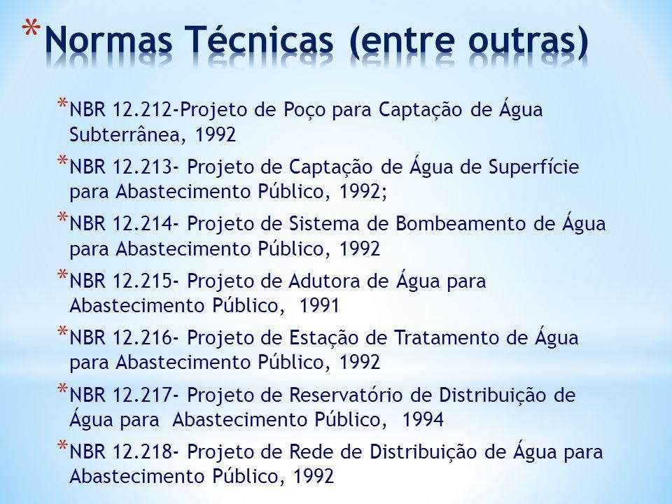 * NBR 12.212-Projeto de Poço para Captação de Água Subterrânea, 1992 * NBR 12.213- Projeto de Captação de Água de Superfície para Abastecimento Públic