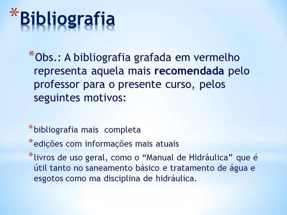 * Obs.: A bibliografia grafada em vermelho representa aquela mais recomendada pelo professor para o presente curso, pelos seguintes motivos: * bibliog