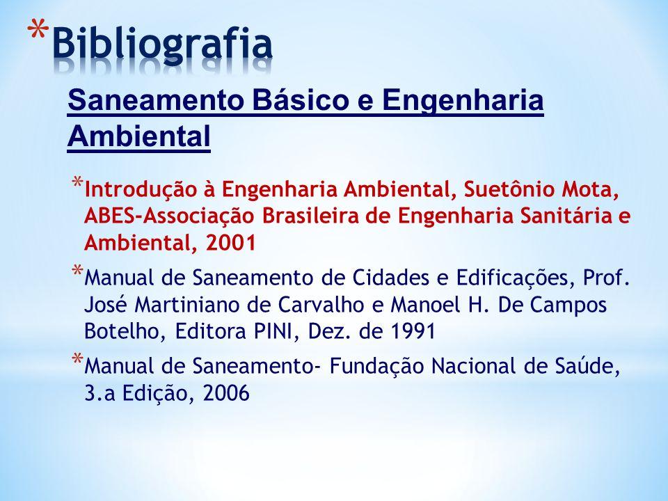 * Introdução à Engenharia Ambiental, Suetônio Mota, ABES-Associação Brasileira de Engenharia Sanitária e Ambiental, 2001 * Manual de Saneamento de Cid