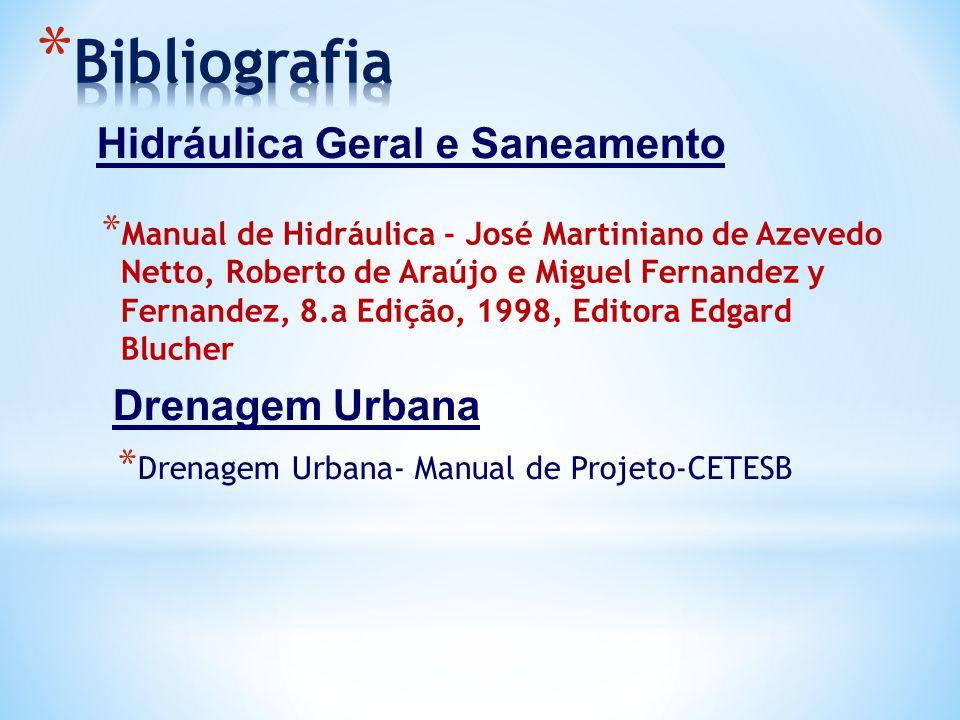 * Manual de Hidráulica - José Martiniano de Azevedo Netto, Roberto de Araújo e Miguel Fernandez y Fernandez, 8.a Edição, 1998, Editora Edgard Blucher