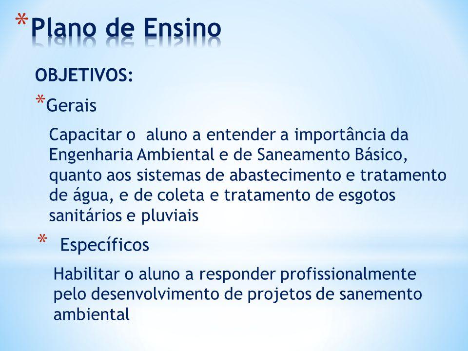 OBJETIVOS: * Gerais Capacitar o aluno a entender a importância da Engenharia Ambiental e de Saneamento Básico, quanto aos sistemas de abastecimento e