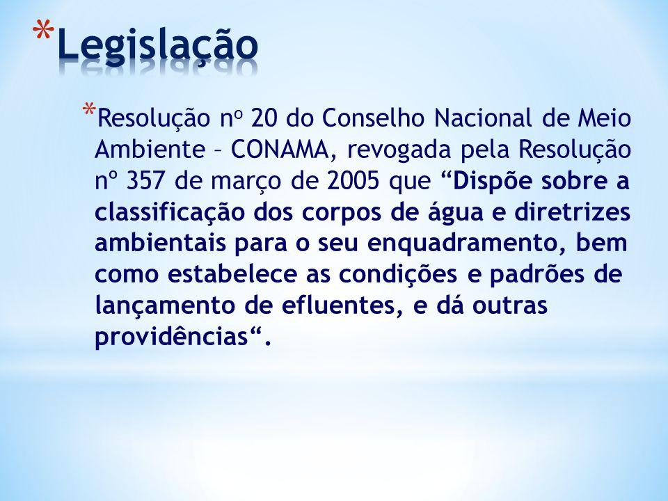 """* Resolução n o 20 do Conselho Nacional de Meio Ambiente – CONAMA, revogada pela Resolução nº 357 de março de 2005 que """"Dispõe sobre a classificação d"""