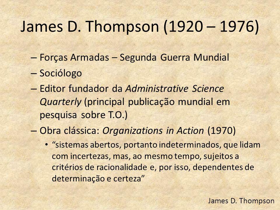James D. Thompson (1920 – 1976) – Forças Armadas – Segunda Guerra Mundial – Sociólogo – Editor fundador da Administrative Science Quarterly (principal