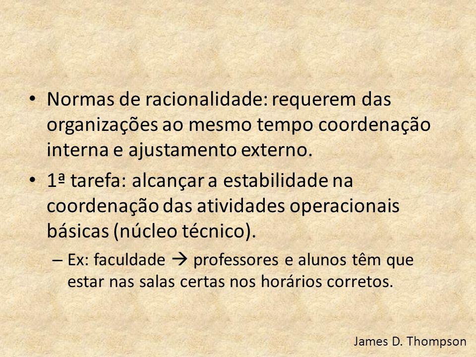 Normas de racionalidade: requerem das organizações ao mesmo tempo coordenação interna e ajustamento externo. 1ª tarefa: alcançar a estabilidade na coo