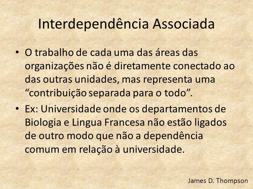 """Interdependência Associada O trabalho de cada uma das áreas das organizações não é diretamente conectado ao das outras unidades, mas representa uma """"c"""
