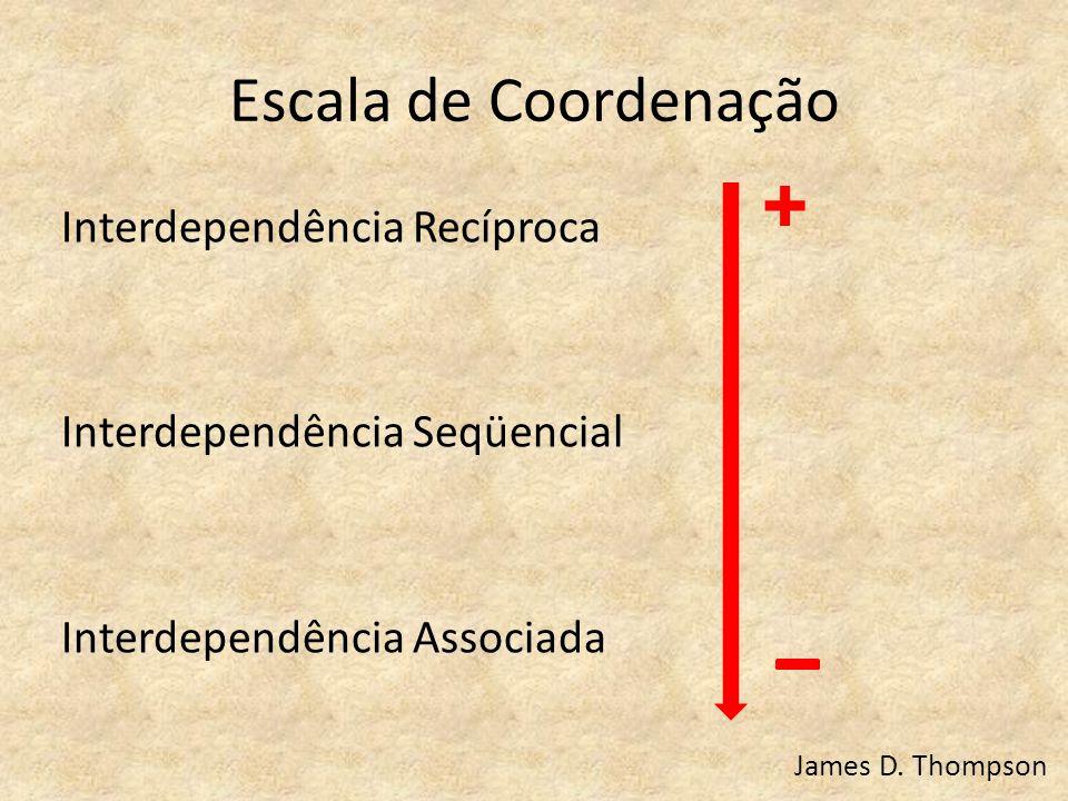 Escala de Coordenação Interdependência Recíproca Interdependência Seqüencial Interdependência Associada James D. Thompson +