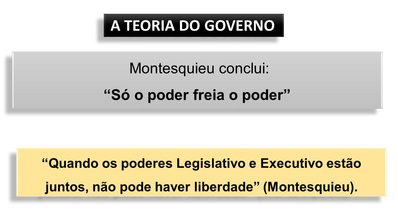 """A TEORIA DO GOVERNO A TEORIA DO GOVERNO Montesquieu conclui: """"Só o poder freia o poder"""" Montesquieu conclui: """"Só o poder freia o poder"""" """"Quando os pod"""
