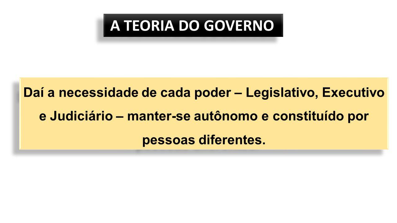 A TEORIA DO GOVERNO A TEORIA DO GOVERNO Daí a necessidade de cada poder – Legislativo, Executivo e Judiciário – manter-se autônomo e constituído por pessoas diferentes.