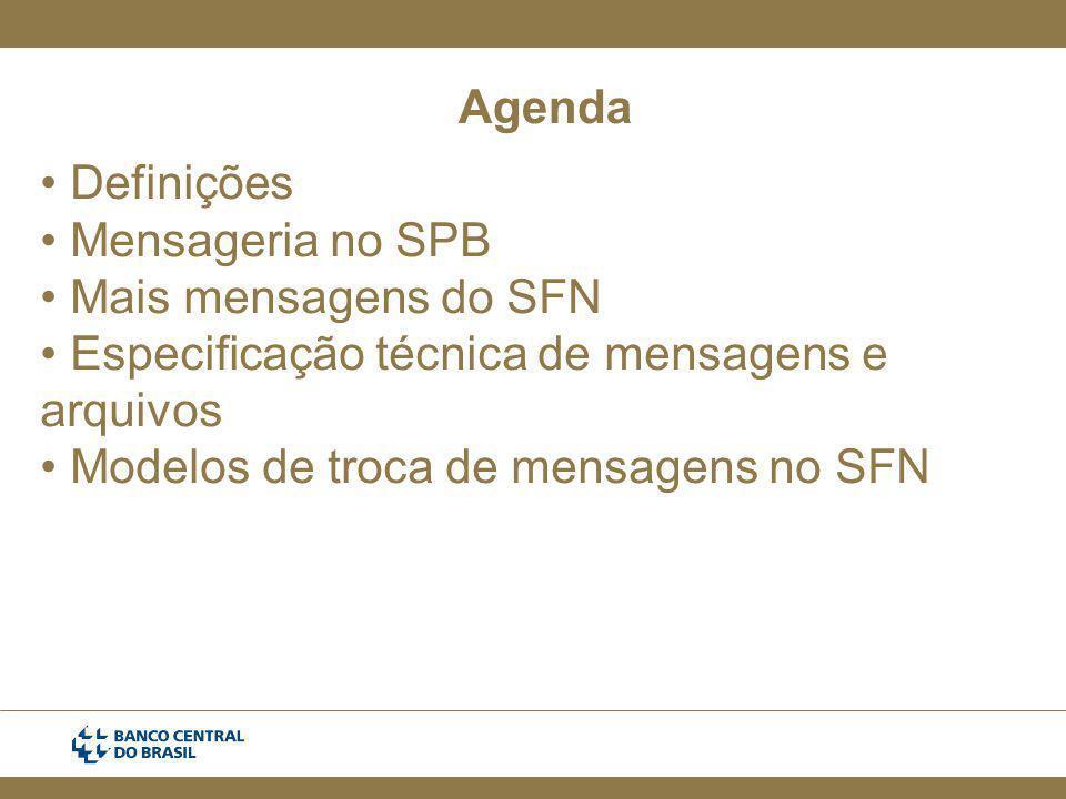 Agenda Definições Mensageria no SPB Mais mensagens do SFN Especificação técnica de mensagens e arquivos Modelos de troca de mensagens no SFN