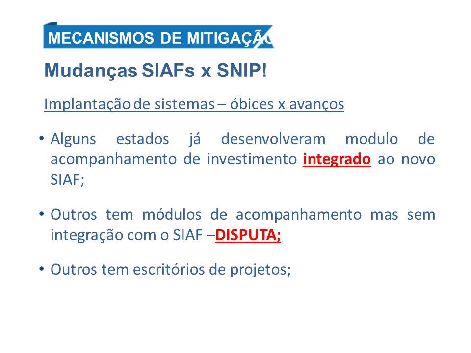 Mudanças SIAFs x SNIP! Implantação de sistemas – óbices x avanços Alguns estados já desenvolveram modulo de acompanhamento de investimento integrado a