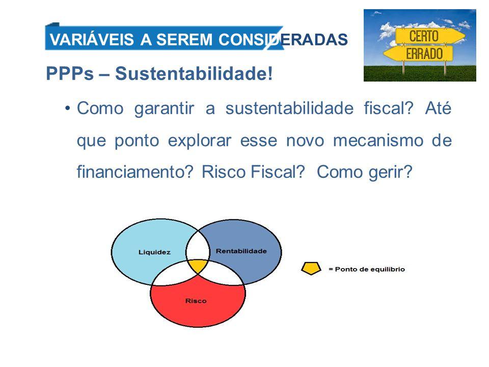 Riscos Custo de oportunidade x Oferta de crédito Custo financeiro menor do que o oferecido à PPP; Pagamento de tributos; Taxa de retorno; Orçamento Público = Risco Sistêmico Vinculação ao orçamento; Frustração de receitas; Risco do Modelo Marco Regulatório; Capacidade Fiscal.