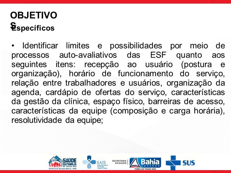 Específicos Identificar limites e possibilidades por meio de processos auto-avaliativos das ESF quanto aos seguintes itens: recepção ao usuário (postu