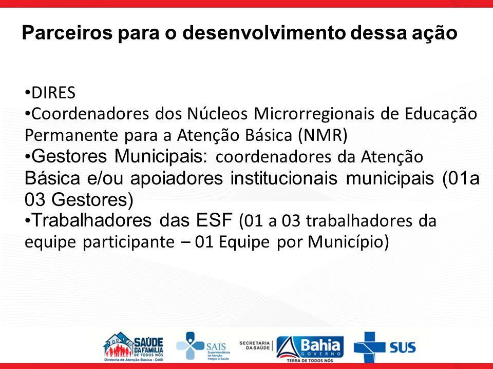 DIRES Coordenadores dos Núcleos Microrregionais de Educação Permanente para a Atenção Básica (NMR) Gestores Municipais: coordenadores da Atenção Básic
