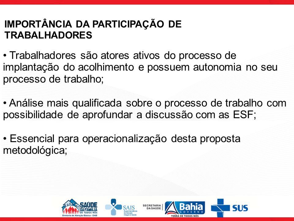IMPORTÂNCIA DA PARTICIPAÇÃO DE TRABALHADORES Trabalhadores são atores ativos do processo de implantação do acolhimento e possuem autonomia no seu proc
