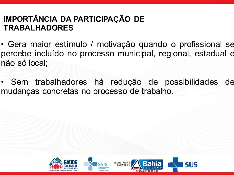IMPORTÂNCIA DA PARTICIPAÇÃO DE TRABALHADORES Gera maior estímulo / motivação quando o profissional se percebe incluído no processo municipal, regional