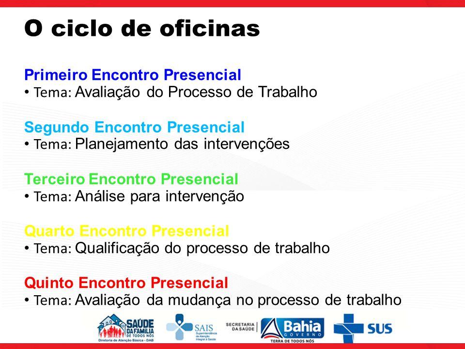O ciclo de oficinas Primeiro Encontro Presencial Tema: Avaliação do Processo de Trabalho Segundo Encontro Presencial Tema: Planejamento das intervençõ