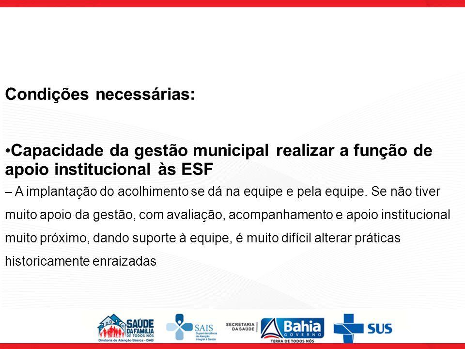 Condições necessárias: Capacidade da gestão municipal realizar a função de apoio institucional às ESF – A implantação do acolhimento se dá na equipe e