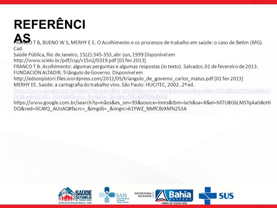 FRANCO T B, BUENO W S, MERHY E E. O Acolhimento e os processos de trabalho em saúde: o caso de Betim (MG). Cad. Saúde Pública, Rio de Janeiro, 15(2):3