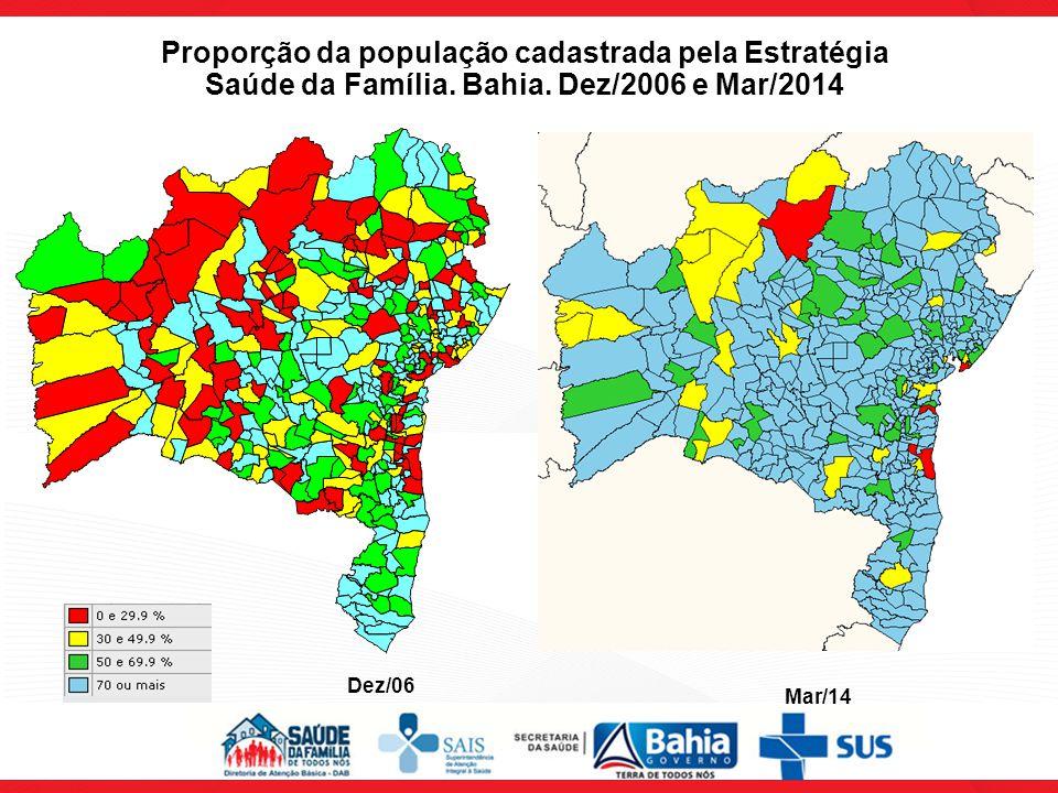 Proporção da população cadastrada pela Estratégia Saúde da Família. Bahia. Dez/2006 e Mar/2014 Dez/06 Mar/14