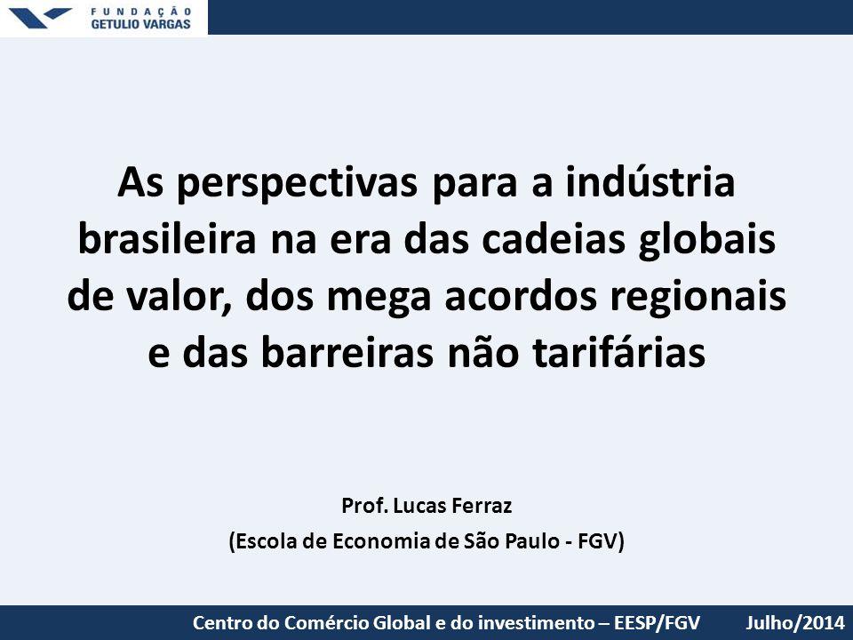 As perspectivas para a indústria brasileira na era das cadeias globais de valor, dos mega acordos regionais e das barreiras não tarifárias Prof. Lucas