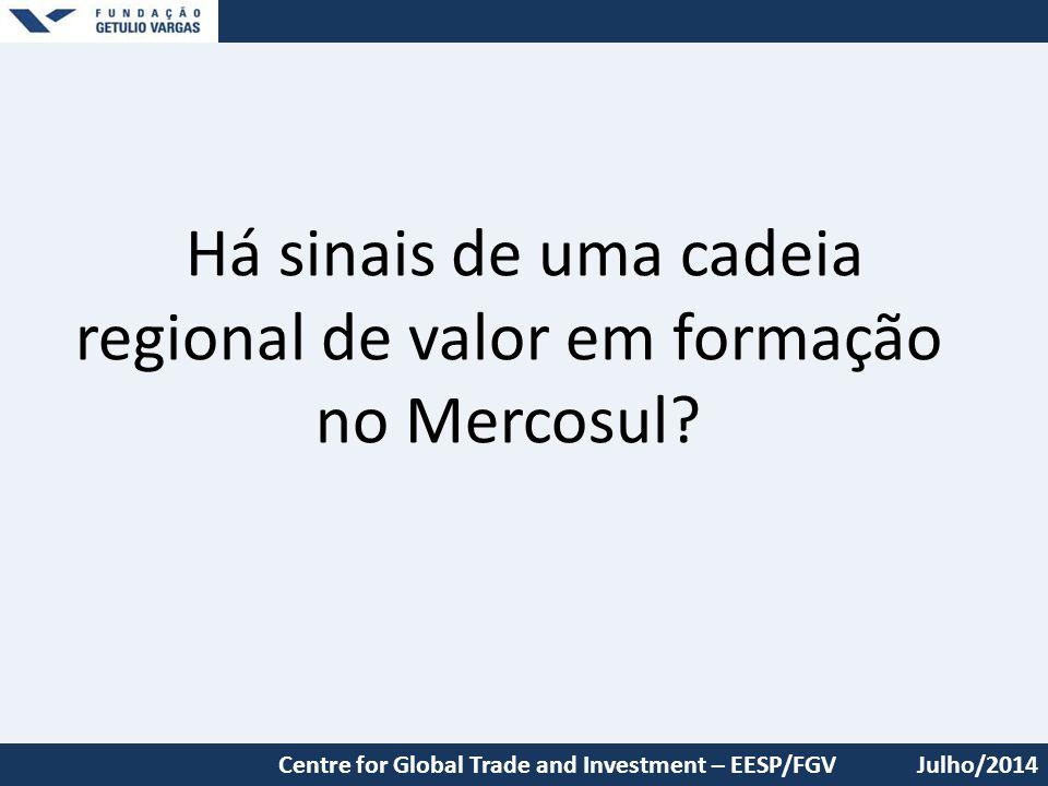 Há sinais de uma cadeia regional de valor em formação no Mercosul? Julho/2014Centre for Global Trade and Investment – EESP/FGV