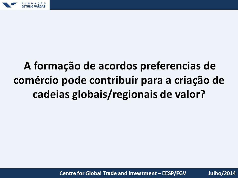 Julho/2014 A formação de acordos preferencias de comércio pode contribuir para a criação de cadeias globais/regionais de valor? Centre for Global Trad