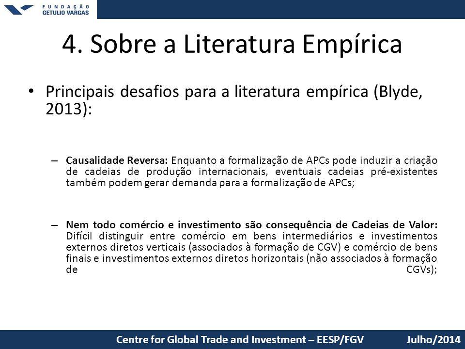 4. Sobre a Literatura Empírica Principais desafios para a literatura empírica (Blyde, 2013): – Causalidade Reversa: Enquanto a formalização de APCs po